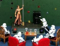 dorkinfo:  Han smuggled to make money…Leia worked the pole ;)