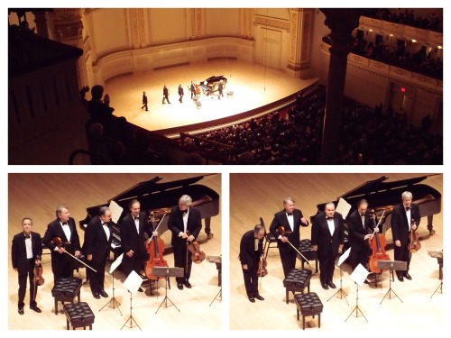 Last night, we enjoyed the Emerson String Quartet's last headlining Carnegie Hall performance with cellist, David Finckel, who is resigning from the quartet at the end of this season after 36 years. It's amazing to think of the long history of these pieces, these performers, and this hall.  They were joined by pianist Yefim Bronfman on the last piece, the Brahms Piano Quintet in f minor op 34.  It's a pretty badass piece…listen to the first movement on YouTube.