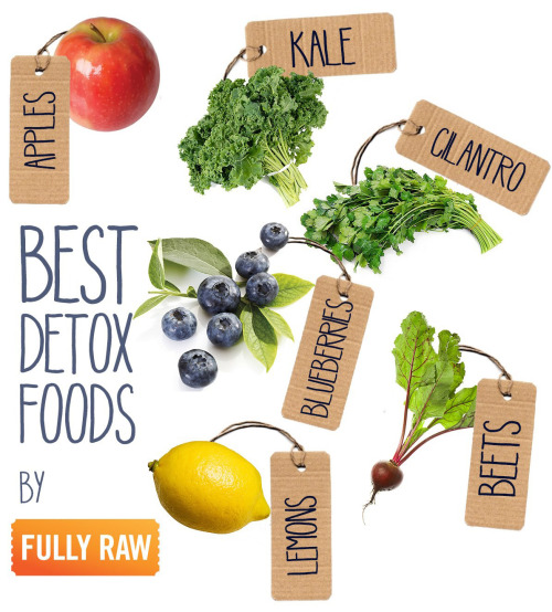 rawlivingfoods:  I want to introduce you to 6 essential FullyRaw Detox Foods! These 6 foods are great for cleansing the body of toxins, heavy metals, and emotional stresses. Whether you are trying to heal an ailment or simply uplift your spirits, these 6 foods are jam-packed with goodness for you! All of these foods can be combined creatively in a juice, smoothie, or salad to satisfy your palate! Here is one of my favorite juices with these ingredients called My FullyRaw Magical Pink Juice for you to try!  5-6 Apples   Juice of 1 Lemon   1 Head of Kale   2 Beet Bulbs with Leaves
