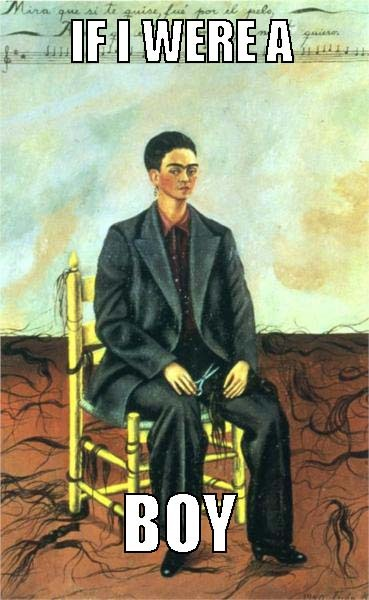 "beyoncearthistory:  Frida Kahlo, ""Self-Portrait with Cropped Hair"" / Beyonce, ""If I Were A Boy"" Credit: Ashley Chen"