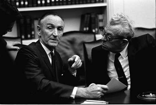 April 10, 1967. Sen. Mike Mansfield (Democratic Majority Leader) and Sen. Everett Dirksen (Republican Minority Leader)  attend LBJ's bipartisan Congressional leadership meeting in the Cabinet Room.