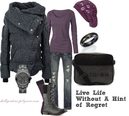 Live Life Without A Hint of Regret by shellyontour featuring scoop neck topsFat Face scoop neck top, $32 / Single breasted jacket / Wolford  hosiery, $16 / Hollister Co. skinny leg jeans / Restricted military shoes / Religion Clothing zip bag, $40 / Marc by Marc Jacobs marc jacob / Black titanium ring / Wet Seal beret hat