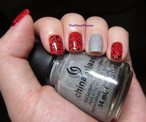 Glam Nails! See full post here! Polishes Used: Essie Wife Goes On China Glaze Glistening Snow OPI Just Spotted The Lizard