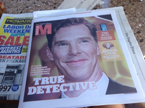 letsdodeductions:  omg look what was delivered to my apartment today  I'm gonna love living in LA if they put Benedict on the front of their newspapers every day
