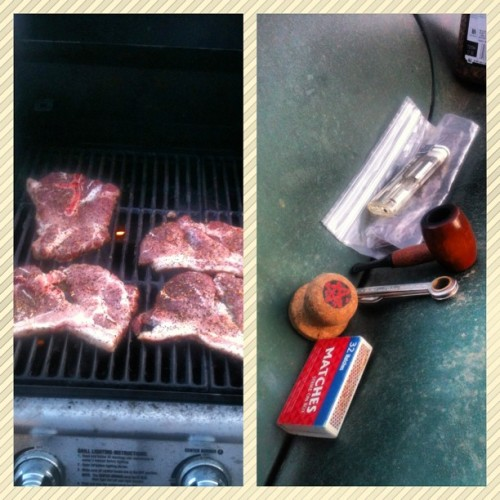#PicFrame #nofilter #lux #BBQing #bbq #pipesmoking #pipes Enjoying a fine blend and some BBQing for the family