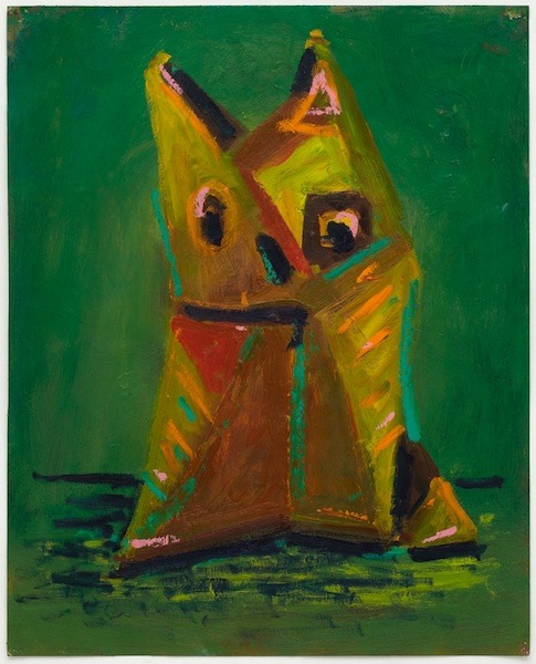 Paul Housley Green Owl Construct oil on paper 19.7 x 15.75 inches VIA MORE