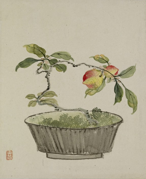 le-desir-de-lautre:  Yoshizawa Setsuan (Japanese, 1809-1889),  Leaf from Album Depicting Birds, Flowers, Landscapes, and Flower Pots, 1876,  ink and colors on silk and paper, 9 1/8 x 10 1/2 in. (23.2 x 26.6 cm).