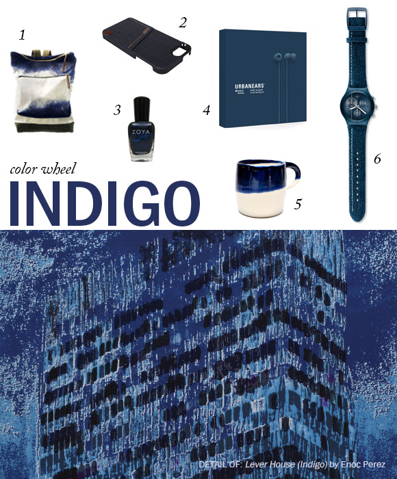 Not quite blue - not quite purple: indigo THE COLOR: Indigo THE ART: Lever House (Indigo) by Enoc Perez FOUND: 1. Dualist City Backpack by McLoveBuddy / 2. Denim Indigo Case by The Joy Factory / 3. Indigo Nail Polish by Zoya / 4. Bagis Headphones by Urbanears / 5. Indigo Dipped Hot Cocoa Mug by UPSEEN / 6. Follow the Line - YCN4008 by Swatch