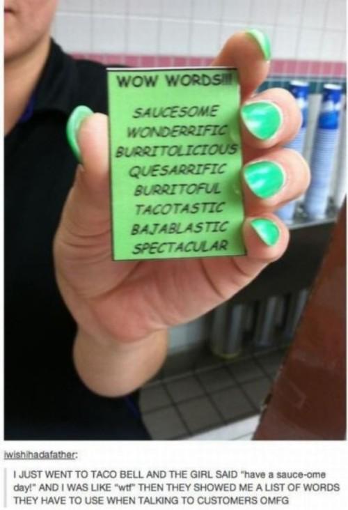Bell ebll Taco taoc words.