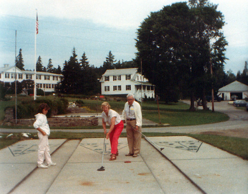 My Grandparents and sister playing shuffle board, Newagon Inn, Maine, mid-1980s
