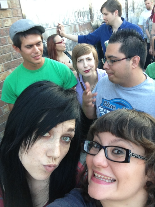 cosmosandconfetti:  Waiting in line for Alkaline Trio! I am in the loudest, drunkest group of people!  Hey! That's me back there. <3