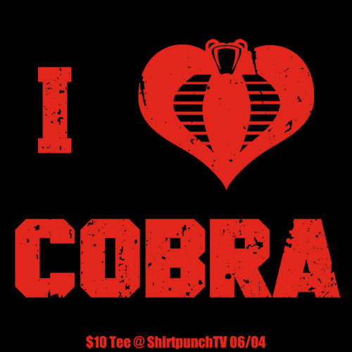 """I Hearth Cobra"" $10 Tee at ShirtpunchTV only this April 6 : https://www.shirtpunch.com/tv/designs/details/heart-cobra"
