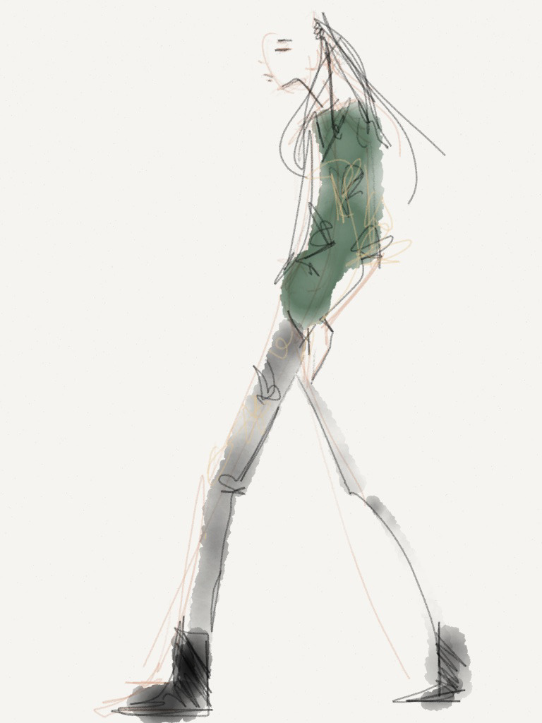 Chloe Comme Parris - Fall 2013 / Illustration by Danielle Meder Using swipes instead of brush strokes, Canadian illustrator Danielle Meder sketches her favourite looks from the runway rooms at Toronto Fashion Week