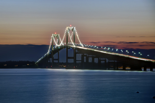Newport Pell Bridge at Sunset. Shot from Newport, Rhode Island.