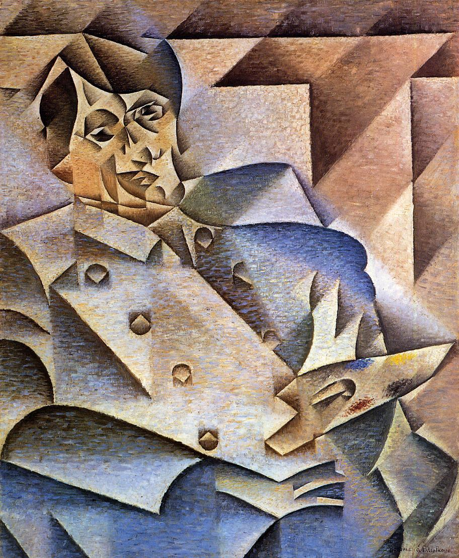 "Juan Gris, Portrait of Pablo Picasso, 1912.    ""Calling himself Juan Gris (pronounced Whahn  greece), José Victoriano González moved from Madrid to Paris in 1906 and took up residence in the same building as fellow Spaniard Pablo Picasso.  The painting is characteristic of Gris's unique variant of Cubism, with a palette of cool blues, browns and grays and carefully delineated planes whose edges seem almost luminous.""   AIC"