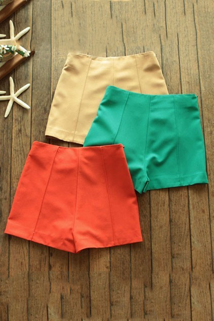 myshopping-bag:  Elegant Candy Color High Waistline Shorts