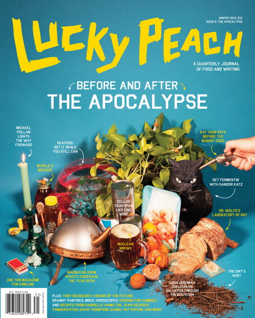 luckypeach:  Here's the cover of the next issue. It'll be arriving in mailboxes and bookstores over the next couple weeks. Inside you'll find a massive interview with a little-known writer named Michael Pollan, a comic collaboration from Tony Bourdain and Tim Lane, stories of werebeavers, and all manner of strangeness and grossness you expect from us taken to apocalyptic extremes. Issues will be available at all your favorite stores that sell printed things. Or you could cop a copy direct from us here. Oh, yeah, I guess I should note: we're gonna try to tumblr here regularly, so feel free to follow. We're also on instagram and twitter. And facebook, but seriously, I do not have any idea how that thing works. pfm  I have it on good authority that there will also be a picture of my face in this one (illustrating a piece about my dear friend Bren Smith!)— just in case you needed the extra incentive.