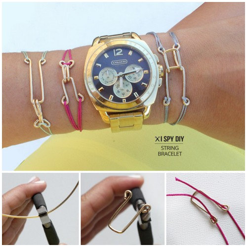 DIY Cheap and Easy Wire Closure String Bracelet Tutorial from I Spy DIY here. I've also seen this done with paper clips. For more wire jewelry DIYs go here: truebluemeandyou.tumblr.com/tagged/wire