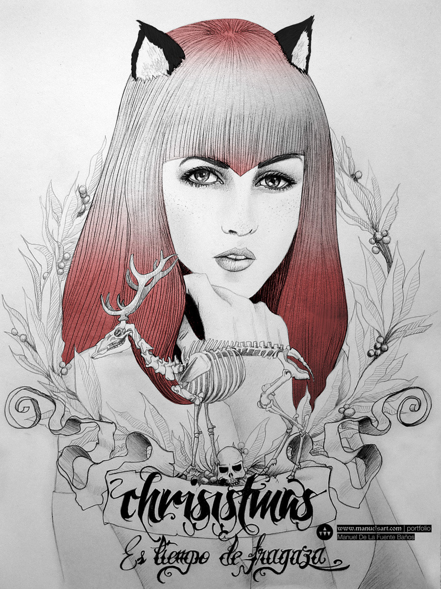 """Chrisistmas, es tiempo de fragaza"" / Christmas greeting card by manuelsart.com studio ©2012"