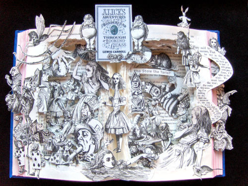 Alice in Wonderland * Through The Looking Glass book sculpture.   Visit my Etsy Shop at: http://www.etsy.com/shop/artfuliving?ref=si_shop