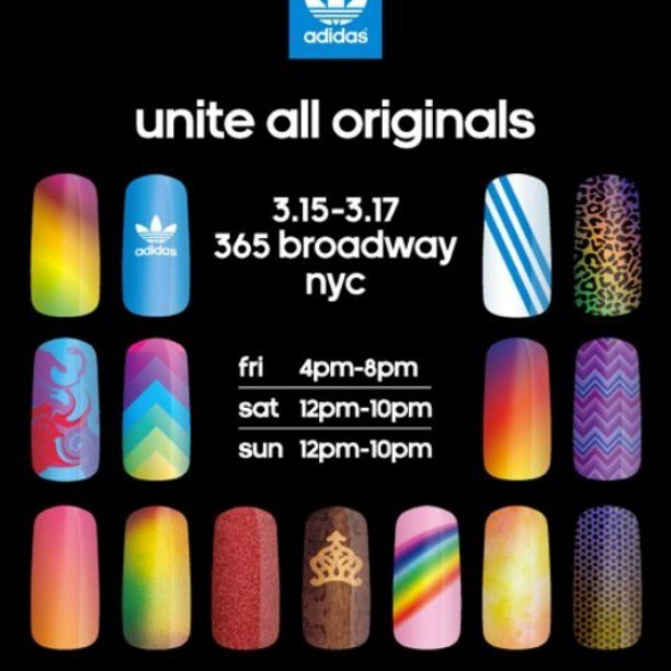 rianailz:  Stop by and get your nails did ladies.. #nailart #rianailz #nailartaddict #supportyourlocalnailartist #unitealloriginals #adidasoriginals #unitenyc  https://twitter.com/adidasoriginals/status/312257163588403201 adidas and a team of NYC's best nail artists led by Christina Rinaldi from Prima Creative bring you a #UniteAllOriginals event this weekend! Stop in and get your fingers blasted!!!!!! ♥ (I will be there for literally every shift so come say hi!!!)