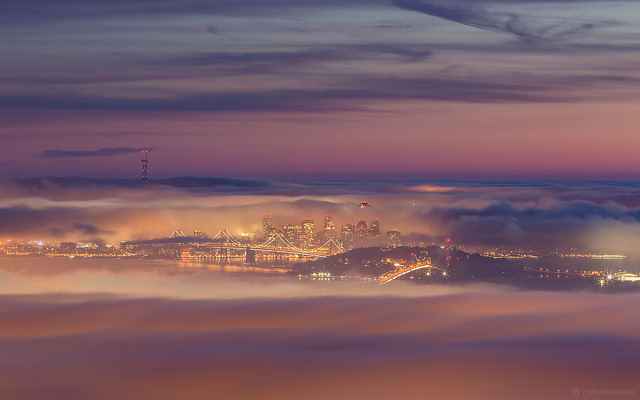 City of Fog on Flickr.Via Flickr: The sunset I saw last night must have been the most epic sunset I have ever seen. To top off all the color, we had low fog and high clouds. I can't tell you how many times I have dreamed of this shot. There was too much color! I ran into +David Yu up there who I am sure will be posting some epicness later. I dedicate this photo for Mothers Day!  *Note: If you end up going to this spot be careful and if you feel bad vibes, leave and go to a lower or higher spot. A local photographer friend went here this morning and luckily left the spot cause of bad vibes and went lower. 5 minutes after he left he heard gun shots and a guy was killed. Just be careful as it's not like the typical touristy spots around the Golden Gate Bridge.Website | facebook | Google+ | Blog | Stipple