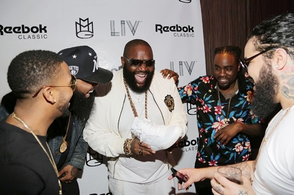 ON-THE-GO W/THE BOSS: OMARION + STALLEY + RICK ROSS + WALE spotted arriving at the Reebok Classic white party at the famous LIV Nightclub on Miami Beach March 10th! Gotta LIV when you go to Miami! That experience is like none other! My homeboys are the promoters for Sunday nights + my friends always host and spin so I'm good, always! Ha! xo @rozOonThego photo credit: alexander tamargo/getty