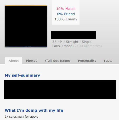 First time in my visitors on OKCupid I see 100% enemy so I thought I should check that person out… Seconds later… I found the reason.