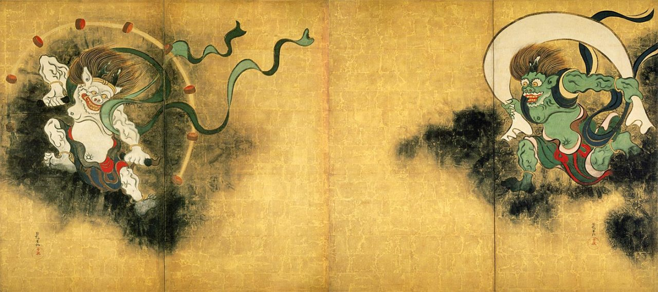 Wind God and Thunder God, Ogata Korin, XVII century. Note that the portrayal of the Wind God in this piece descends directly from depictions of Greek wind deities brought to what is today Afghanistan during the Hellenistic Era. In fact, it includes the Classical motif of the velificatio.