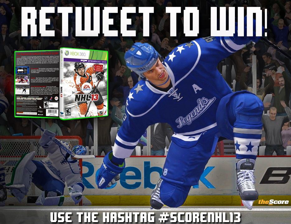WIN A COPY OF NHL 13!  Follow @theScoreNHL on Twitter and use the hashtag #ScoreNHL13 and tell us how PUMPED you are for the upcoming season. Click HERE for full details on how to win. Good Luck, Hockey Fans!