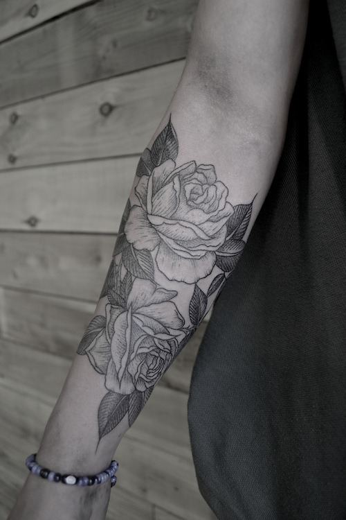 Black And White Roses Tattoos Tumblr Black Roses Tattoo on Arm