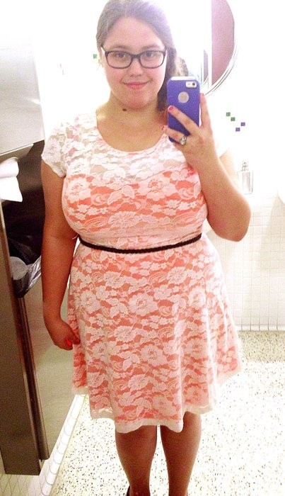 US size 16, and I'm grossly fond of lace. Dress is Candie's XL from Kohl's. Belt is Forever21+ my blog