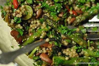 Roasted Spring Veggie Couscous:  Asparagus spears, bell pepper, zucchini and onion are roasted to perfection then tossed with couscous infused with vegetable broth. Kidney beans pack a protein punch and turn this salad into a hearty lunch. This recipe comes to us from Courtney of Coco Cooks.