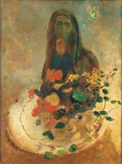 "Odilon Redon Mystery / circa 1910 Odilon Redon's evocative, visionary, and sometimes nightmarish images offer little indication that he was a contemporary of the impressionist painters. Finding the visual objectivity of the impressionists unchallenging and limiting, he preferred to emphasize the unseen, subconscious elements of existence. Accordingly, the symbolist and Nabis painters, who found Redon's mystical interpretations of the essence of life appealing, eventually adopted him as their mentor during the 1890s. Pierre Bonnard wrote of his admiration for Redon's ""blending of two almost opposite features: a very pure plastic substance and a very mysterious expression."" Mystery was probably painted around 1910, during the last phase of Redon's career, when he had abandoned the velvety blacks of his earlier creations and was working predominantly in color in order to produce more tranquil images. The intangible meaning of the painting lends itself to various interpretations, making the title especially appropriate. As Redon wrote in 1902: ""The meaning of mystery is to be always in ambiguity… (to have) forms which will be, or which become according to the state of mind of the beholder."""