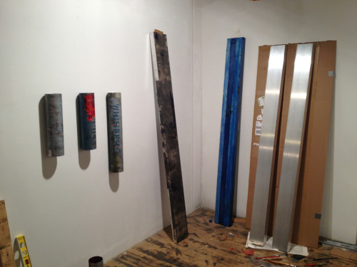 Studio view: 4 different expanded paintings that I'm working on right now for upcoming projects.