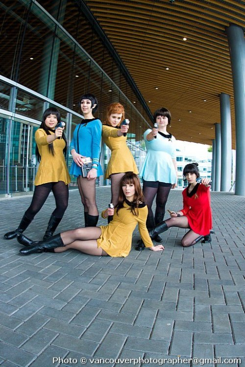 fuckyeahstartrektos:  This was my full Fem Trek cosplay group for Fan Expo Vancouver 2013! From left to right, up to down: Sulu - http://www.capslocksam.tumblr.com Spock - Petite Chou Fleur Kirk (me) - http://www.Emmaliene.deviantart.com McCoy - tumblr/deviantart unknown. Chekov - tumblr/deviantart unknown Scotty - http://www.why-yari.deviantart.com Hope you guys like! —- You ladies look fantastic! Thanks for the submission