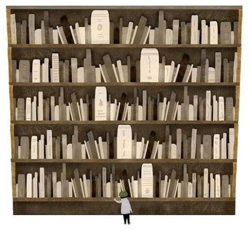 Díficil elección: muchos libros interesantes para elegir en la biblioteca (ilustración de autor desconocido)