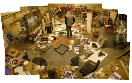 Banksy in his studio.