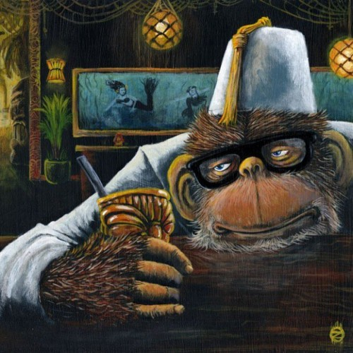 My #painting RUMINATING COSMO #acrylics on a #cigar #box Sold #lowbrow #Kustom #Tiki #pulp #art #Artist #bar #mermaids