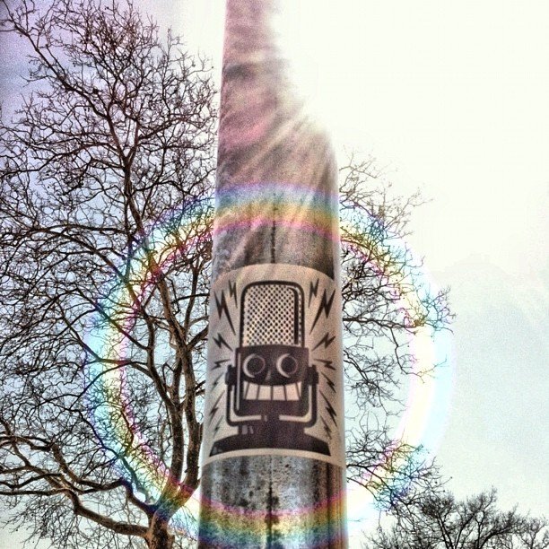 Mic Check (Unknown Artist) #stickers #streetart #graffiti #nyc #microphone #tree #light