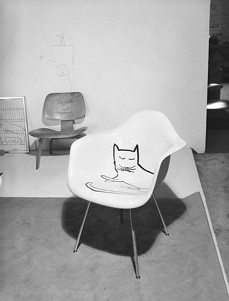 "Saul Steinberg & Eames Chair ""Cat Chair""."