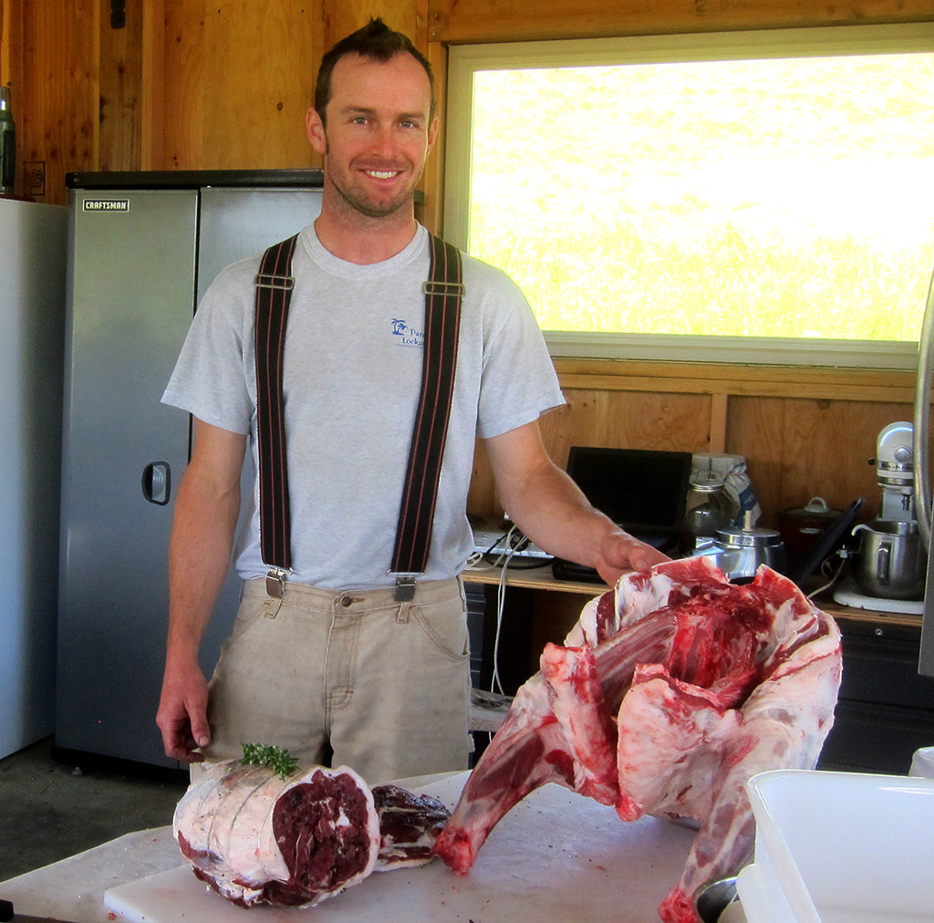 Aaron, the butcher, turning Tim the ram into dinner.