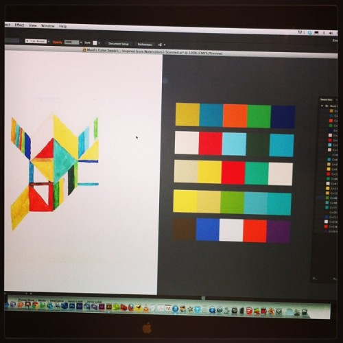 Revealed: sorting out my color swatch in Adobe Illustrator before this month's new graphic artwork. The colors are inspired from my 2011 watercolor artwork. 25 colors in 5 sets. This is how I reveal my color play in my design/artwork. I'm serious and pay attention to detail on how I structure my works.
