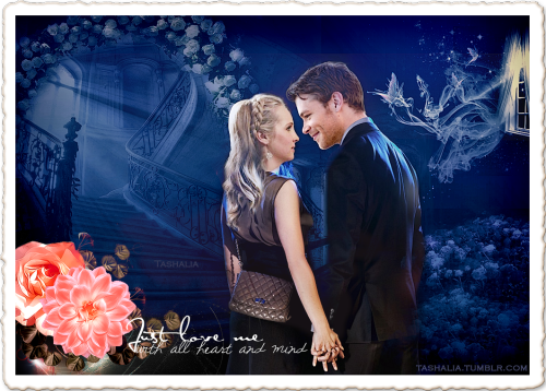 Klaus (@JosephMorgan) and Caroline (@CandiceAccola). #Klaroline fan art.