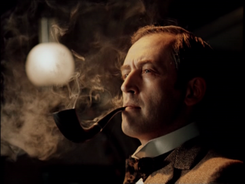 buddy2blogger:  Sherlock Holmes (Vasily Livanov) enjoying his pipe  You are a beautiful specimen, sir.