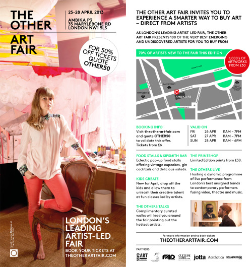 London art lovers! Get 50% off tickets to The Other Art Fair - on next weekend at Ambika P3 near Baker Street tube station - by quoting OTHER50 when booking online. Art Below has a section in it - for those who don't know, Art Below is an exhibition going on in the underground over the next few weeks featuring artwork from various talents including me! People who are passing through Hyde Park Corner on the Eastbound Piccadilly Line - keep an eye out for artwork from Splatterworld featured at the station!