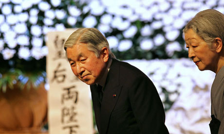 Emperor Akihito and Empress Michiko leave the national memorial service for victims of the 2011 earthquake and tsunami. Photograph: Junji Kurokawa/AFP/Getty Images  (via Japan marks tsunami anniversary | World news | guardian.co.uk)