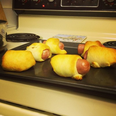 Homemade (giant) pigs in a blanket. Add sweet potato bisque and you have an awesome meal.