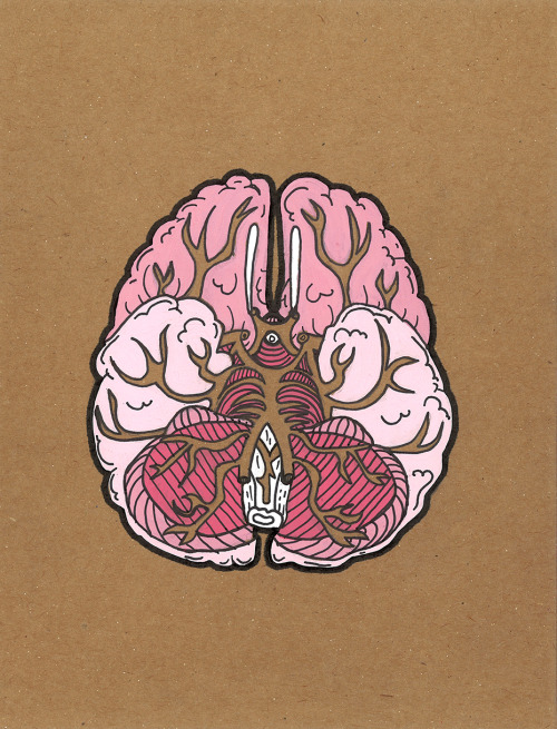 fuckyeahmedicaldiagrams:  Brain by Andrea Farina Gouache & ink on chipboard