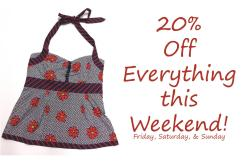 We're having a SALE this weekend! 20% off EVERYTHING in both our Carytown and Ridge Road stores!